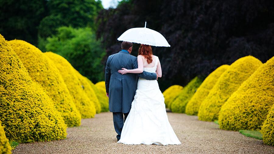 Wedding Couple with wedding umbrella